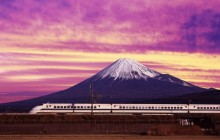 Shinkansen Bullet Train and Mount Fuji - Japan