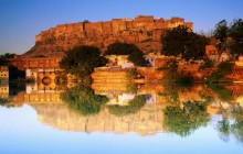 Fort Reflected in a Pool at Sunset - Jodhpur - Rajasthan - India