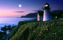 Moon Rise Over Point Montara Lighthouse - California