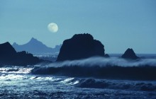 Moon Over Rockaway Beach - California