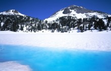 Lassen Peak and Snowmelt in Lake Helen - California
