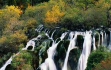 Waterfall Cascading in Nine-Village Valley - Sichuan - China