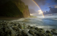 Rainbow Over Wailau Beach - Molokai - Hawaii