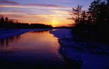 Partly Frozen River at Dusk - Kuusamo - Oulu - Finland