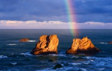 Rainbow Over Seastacks - Bandon - Oregon