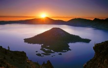 Sunrise Over Crater Lake and Wizard Island - Oregon