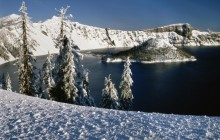 Wizard Island and Crater Lake in Winter - Oregon