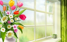 Spring flowers on the window